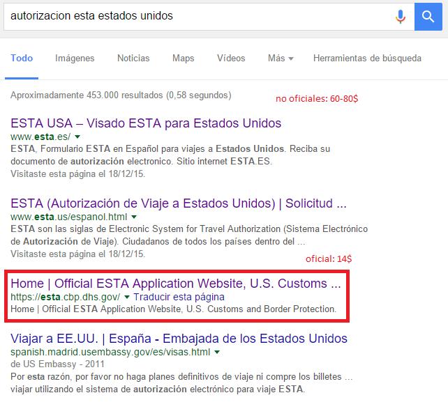 Visado EEUU: Formulario ESTA busca en Google