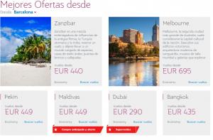 Destinos con oferta Qatar Aiways