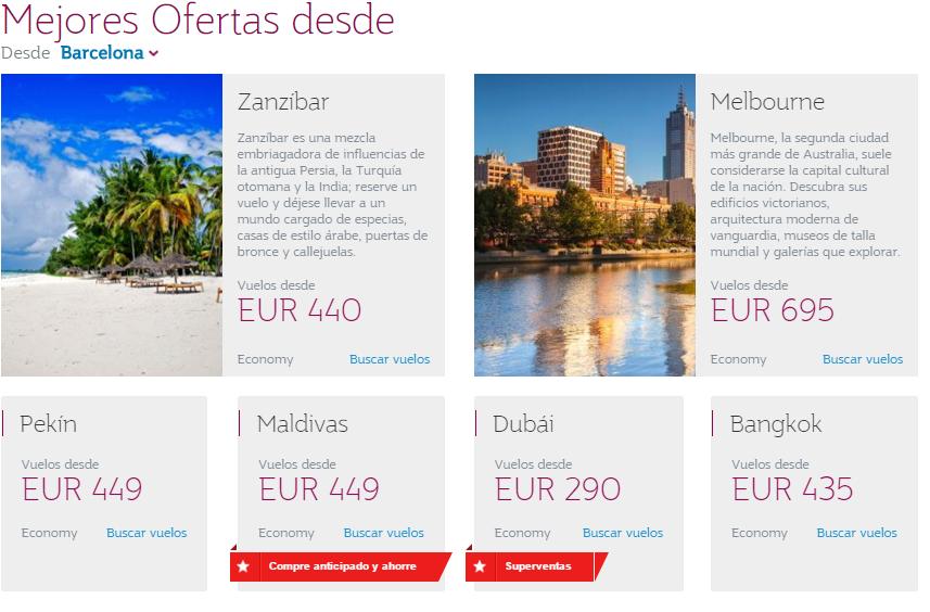 Ofertas Qatar Airways