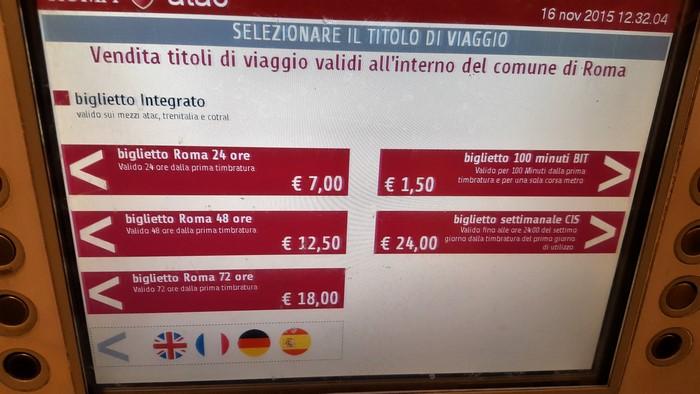 Roma en familia: Precios billete de metro y autobús en Roma