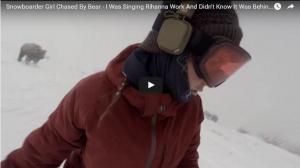 video japon snowboarder y oso