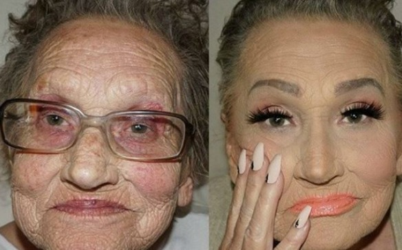 Transformacion abuela maquillada video viral
