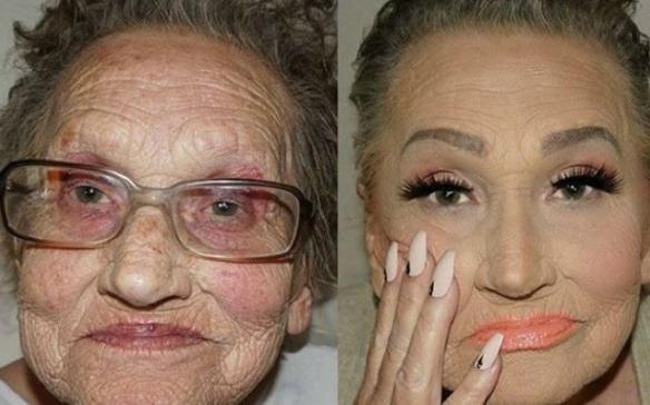 Transformacion abuela maquillada video viral