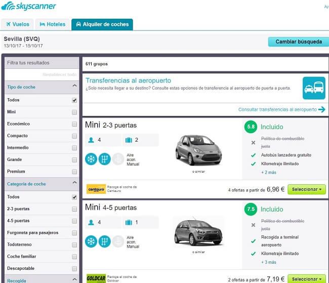 Alquiler coche al mejor precio