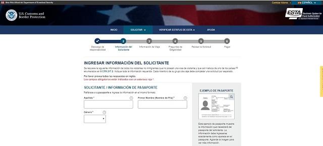 Solicitud formulario ESTA