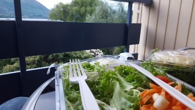 Nueva Zelanda: ensalada en Wanaka Hotel