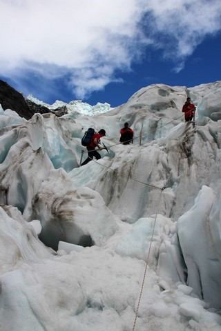 Subiendo en el Glaciar Franz Josef