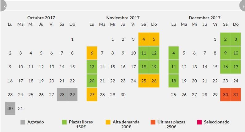 Waynabox seleccion de fechas