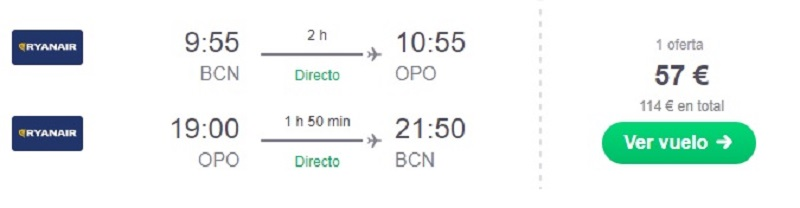 Oferta vuelo Oporto