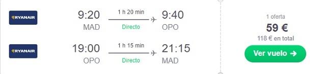 Oferta vuelo Madrid Oporto
