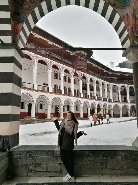 Balcones y patio del Monasterio de Rila