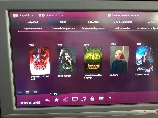 Horas de películas con Qatar Airways