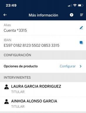 Numero de cuenta Ainhoa Alonso