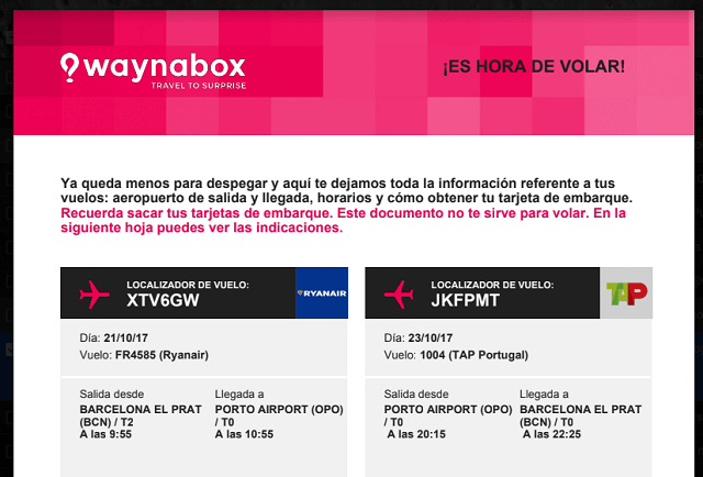 Waynabox información vuelo sorpresa