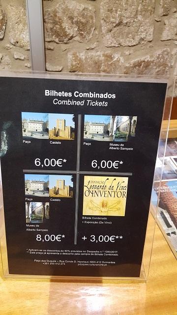 Precios entradas combinadas en Guimaraes