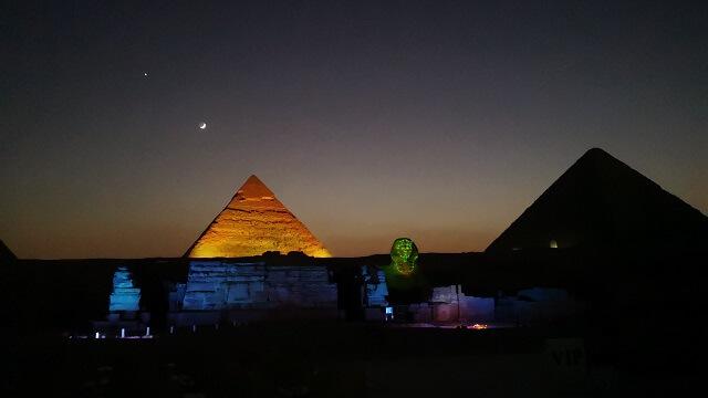 Espectáculo de luces y sonidos en las pirámides.