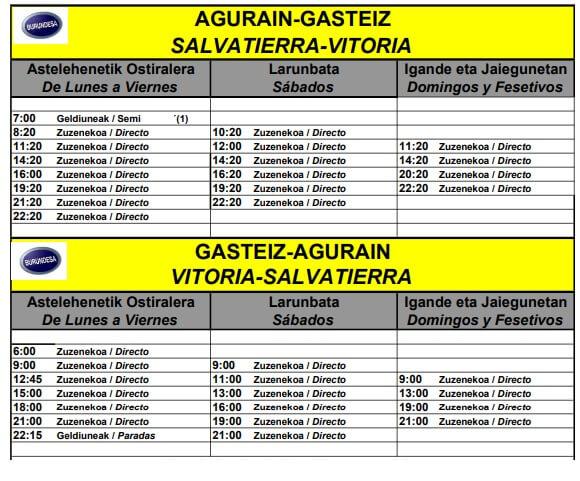 Horario Autobuses 2019 vitoria salvatierra