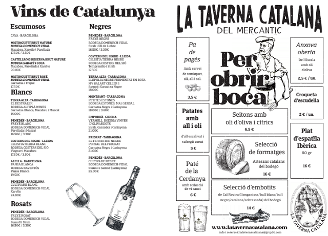 Carta Taverna Catalana Mercantic