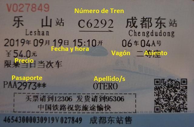 Billete de tren China