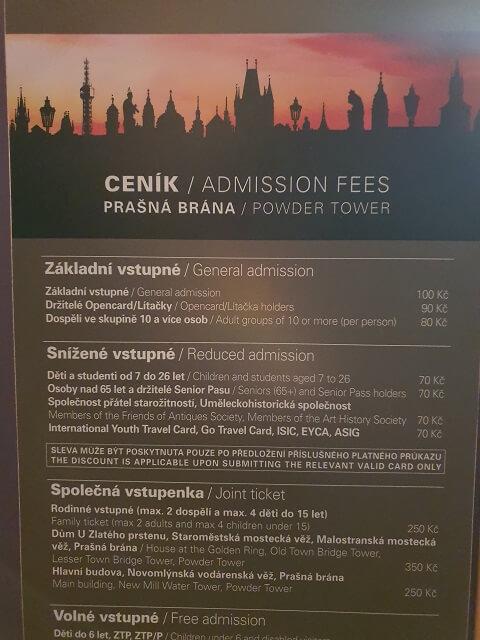 Precios Torre de la Pólvora Praga