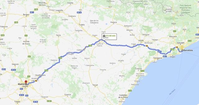 Barcelona Madrid en coche distancia y tiempo