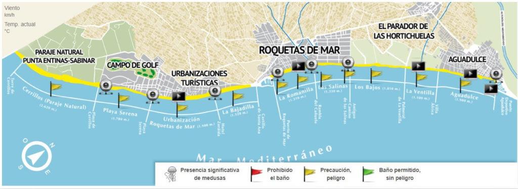 Estado playas Roquetas de Mar