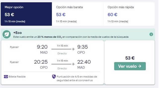 Oporto en dos dias oferta vuelos des Madrid