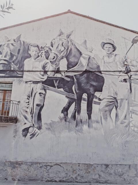 MIQUEL WERT (2017). Mural obreros Penelles